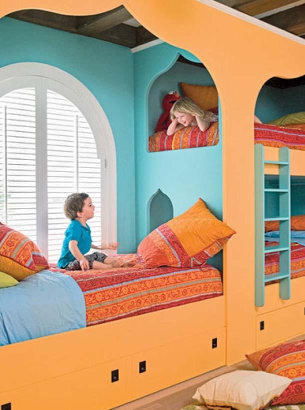 Детские комнаты для разнополых детей - вариант в восточном стиле