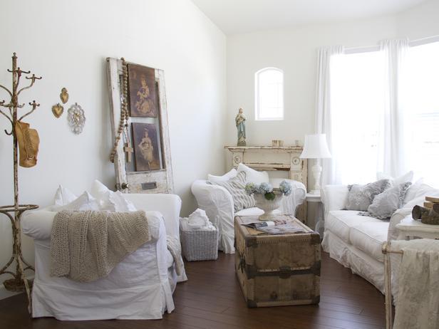 оформление гостиной в стиле шебби шик
