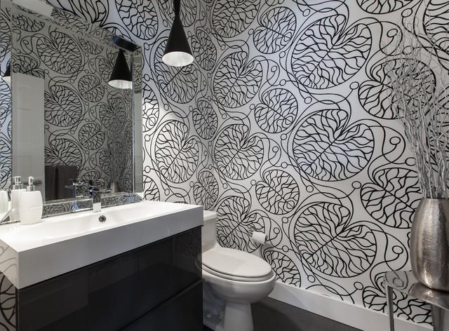 интерьер ванной комнаты в черно белых тонах
