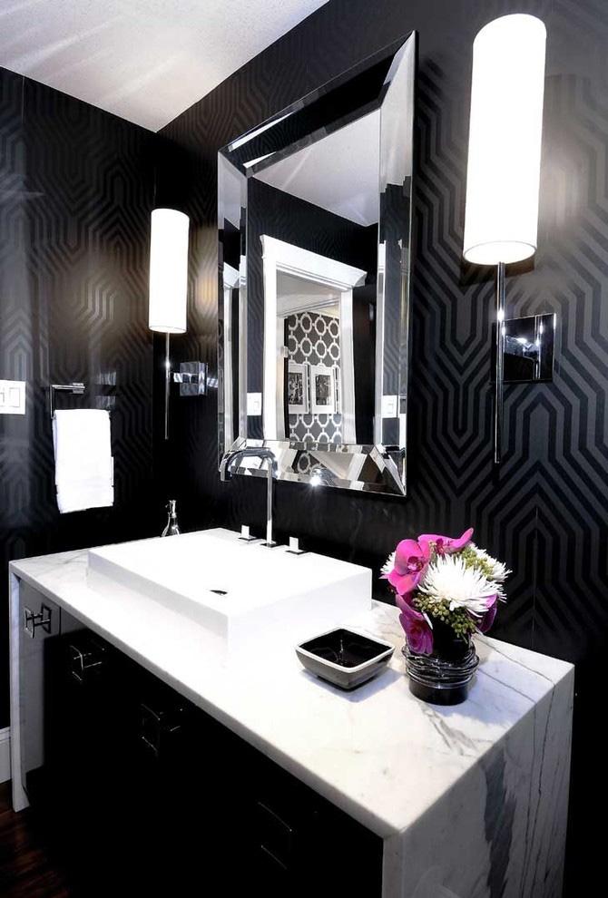 дизайн черно белых ванных комнат