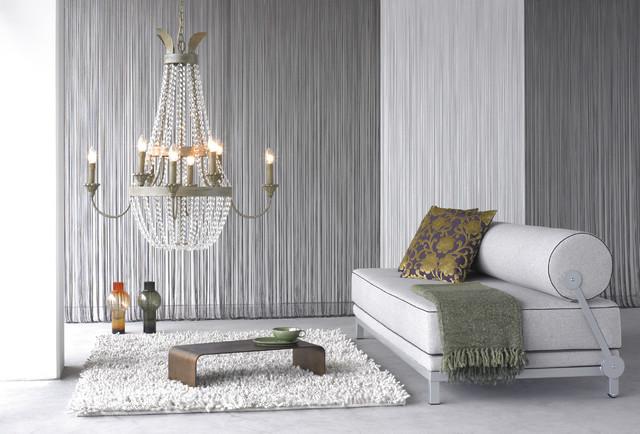 Веревочные шторы в диизайне стильной гостиной