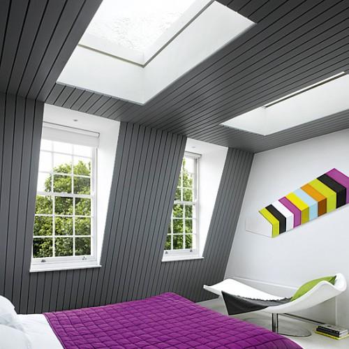 Дизайн мансарды с серыми стенами