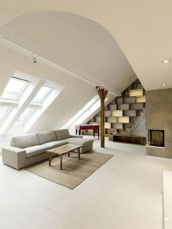 Интерьер мансарды с круглым потолком