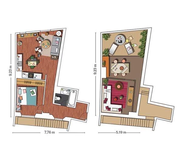 Планировка очаровательной двухэтажной квартиры в Барселоне