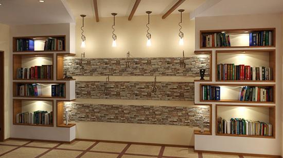 Интересный каменный декор стены комнаты