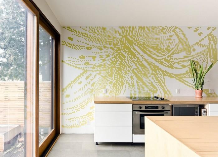 Пиксельная мозаика кухонного фартука