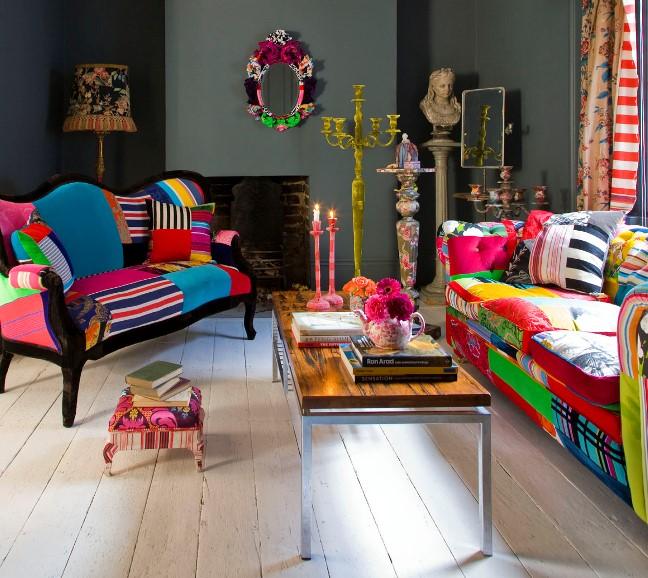 Мебель гостиной в стиле пэчворк