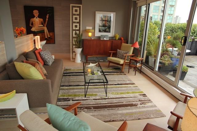 Стиль ретро в интерьере небольшой гостиной