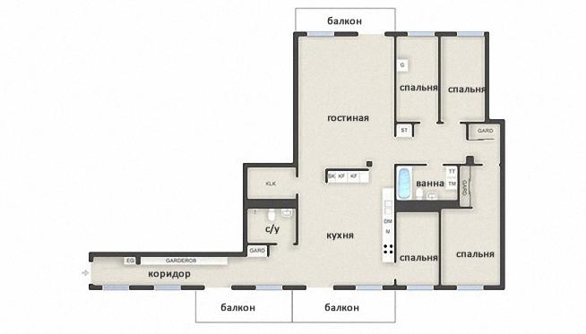 план роскошной квартиры