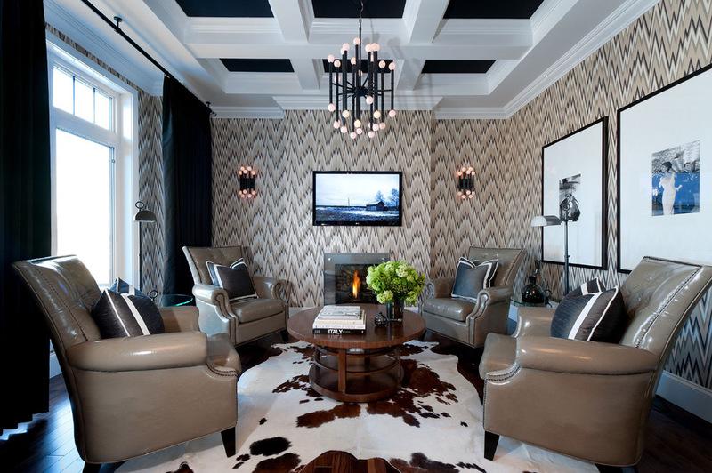Современная гостиная атмосферой дизайна интерьера Инк