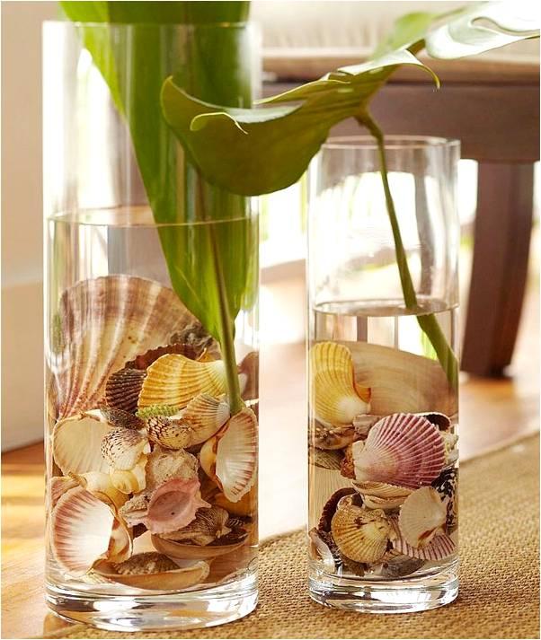 Декор вазы  из ракушек