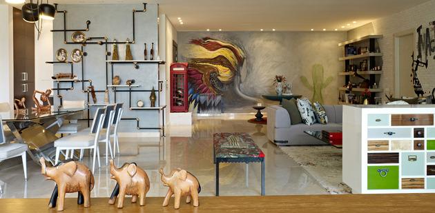 На фото интересный проект квартиры в эклектическом стиле