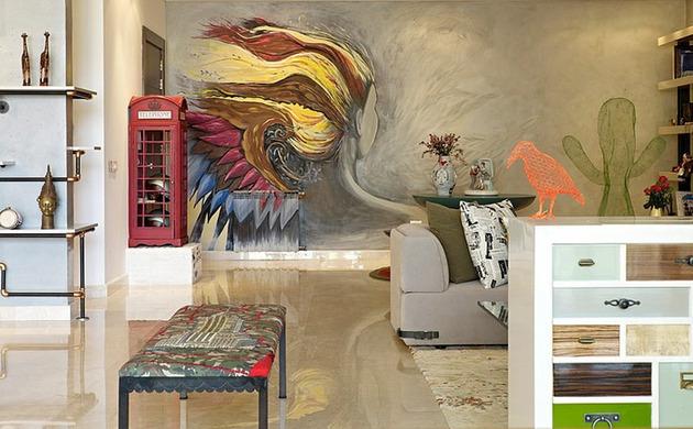 проект квартиры - рисунок на стене
