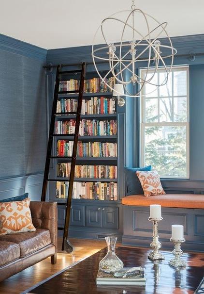 Темно голубой интерьер гостиной фото 4