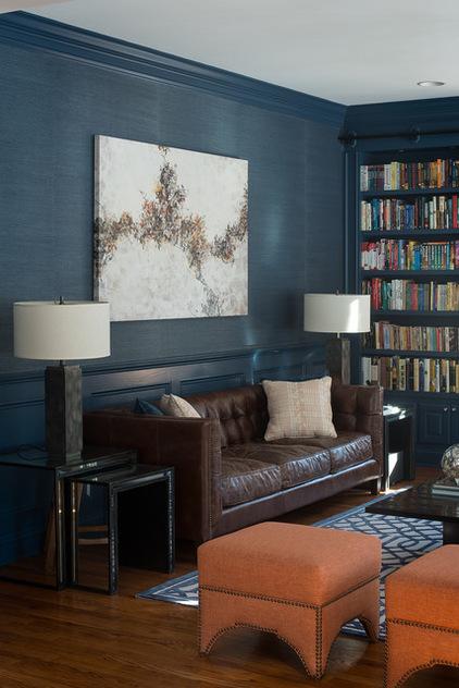 Темно голубой интерьер гостиной фото 2