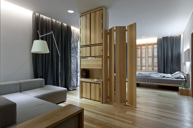 Эко интерьер квартиры с открытой планировкой (12)