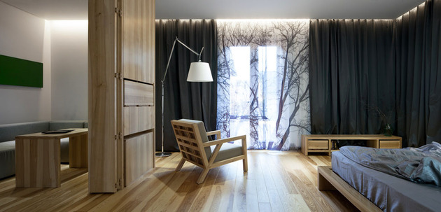 Эко интерьер квартиры с открытой планировкой (14)
