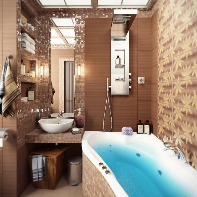 Фото интерьера ванной комнаты маленького размера