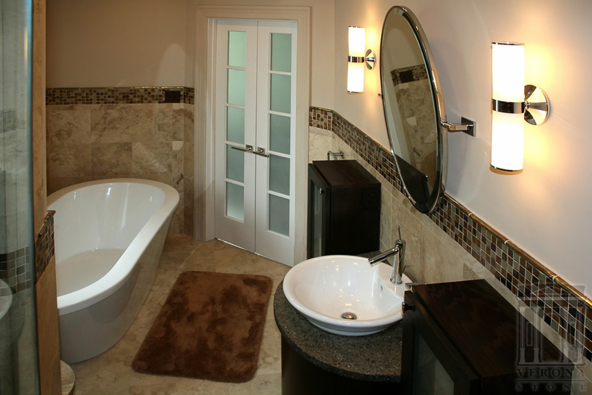 Bathroom with tile walls