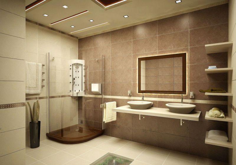 Бежевая ванная комната - фото