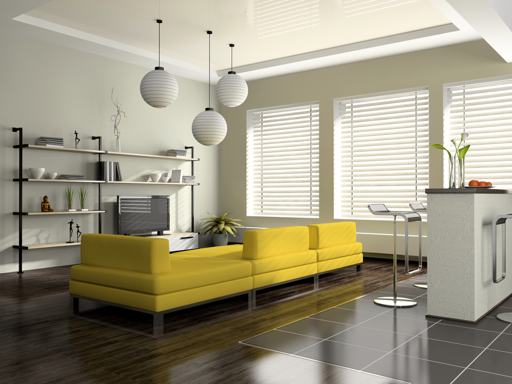 Modern interior with yellow sofa