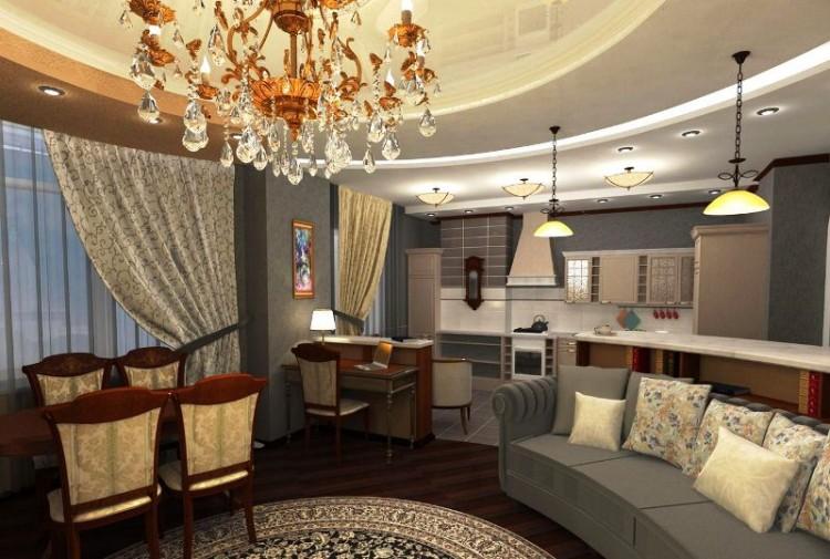 Гостиная с кухней дизайн 25 квм классика