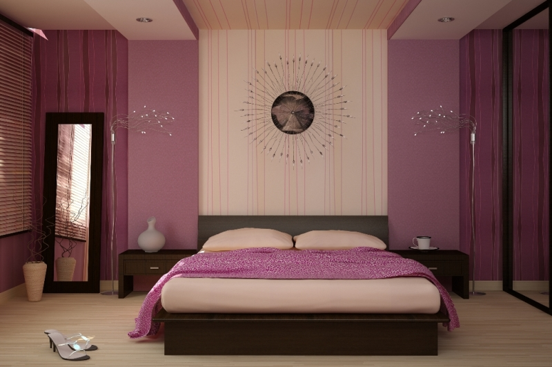 Fioletovyiy-tsvet-v-interere-spalni-----osnovnyie-pravila-otdelki 7