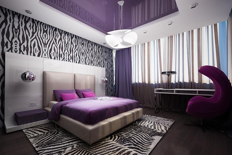 Спальня дизайн фиолетовая белая