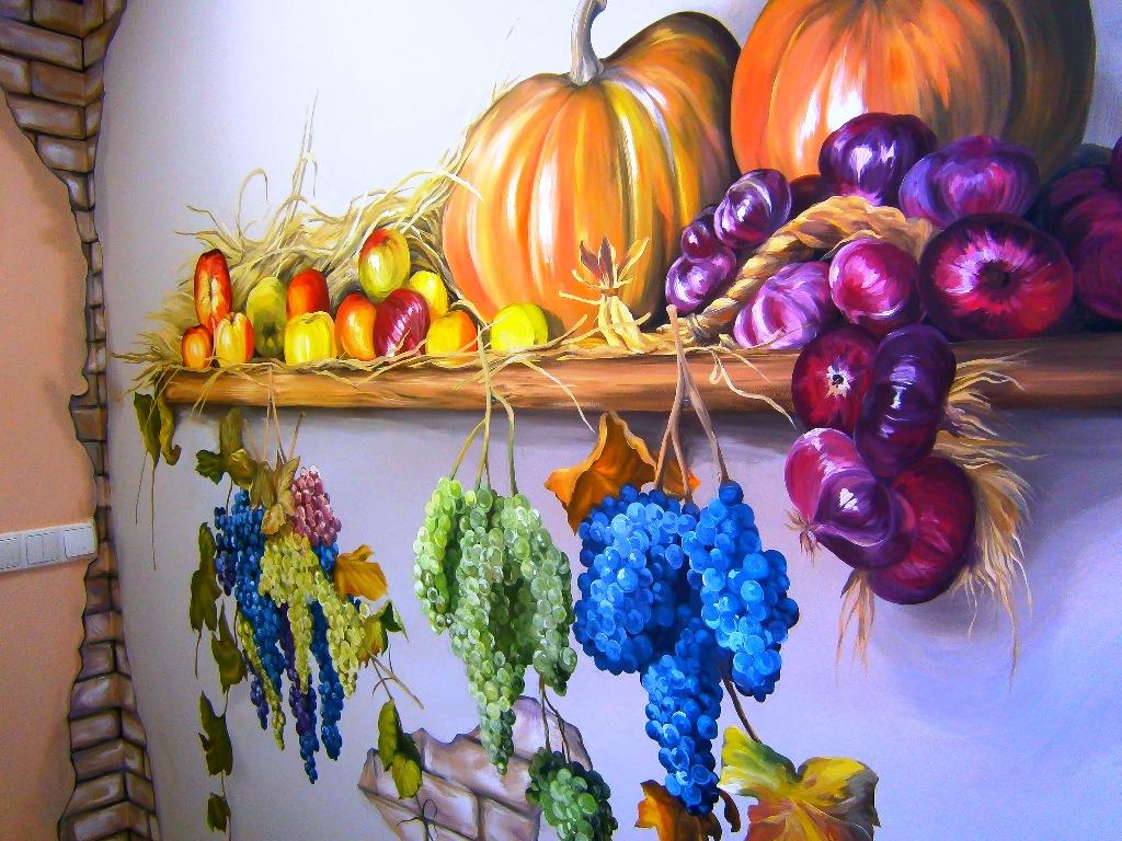 Роспись стен в кухне своими руками 39
