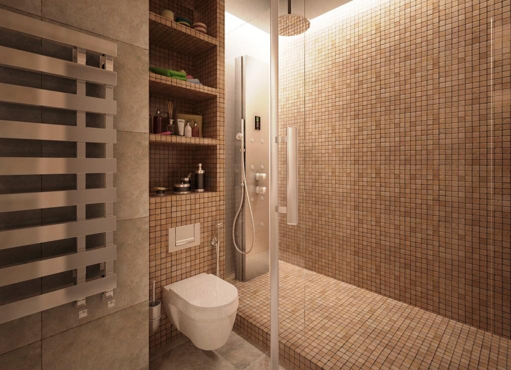 Дизайн интерьера ванной комнаты с душем