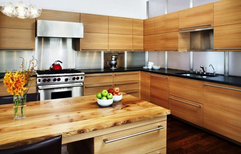 Современная кухня под дерево дизайн