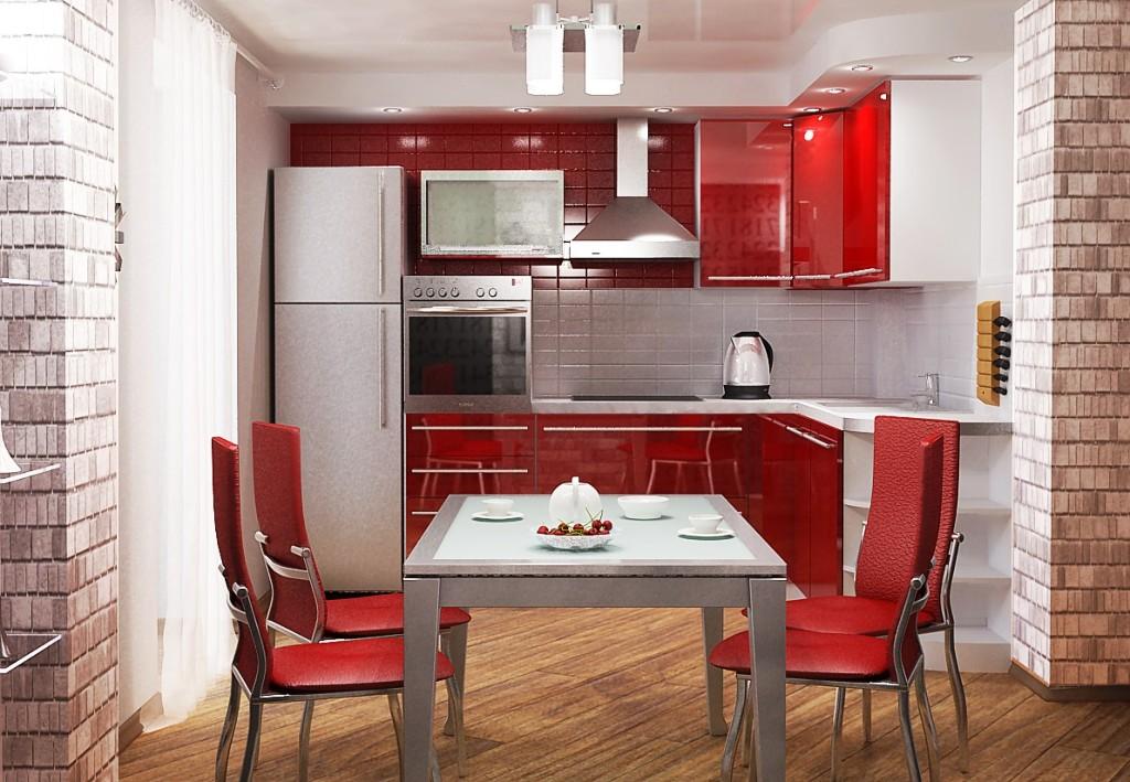 Интерьер под красную кухню фото