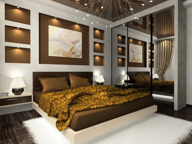 коричневая спальня фото 11