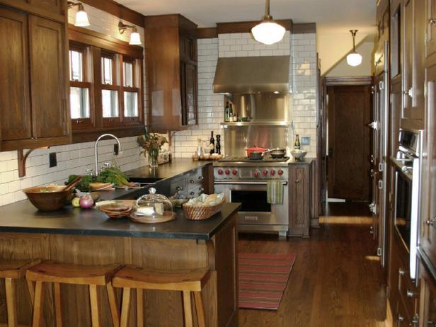 Коричневая кухня фото 7
