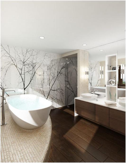 стекло в интерьере ванной