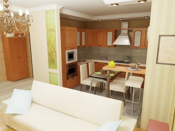 дизайн кухни совмещенной с гостиной фото 7