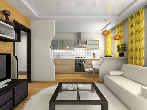 кухня гостиная зонирование