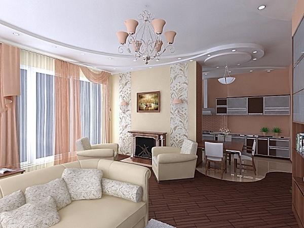 дизайн гостиной совмещенной с кухней фото 4