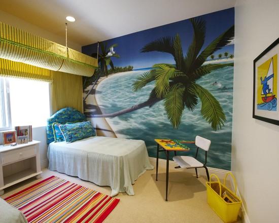 интерьер спальни с фотообоями море