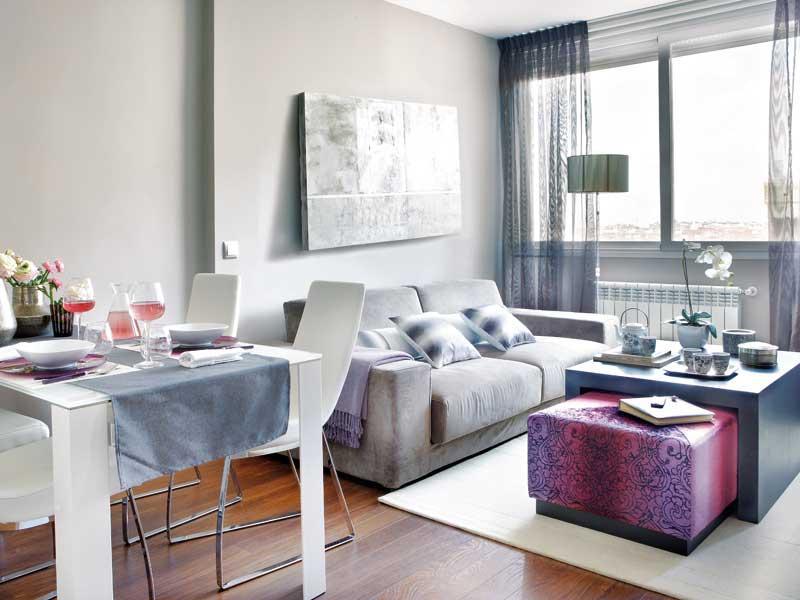 дизайн маленькой квартиры - серая гостиная