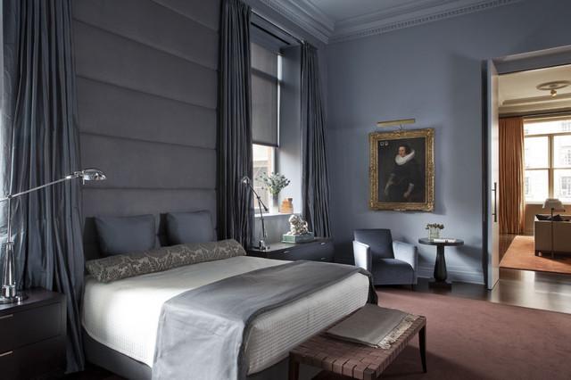 серо синяя спальня