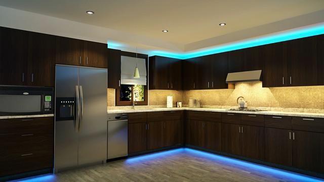 подсветка в кухне светодиодной лентой