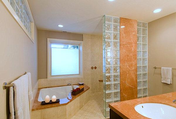 стеклянные кирпичи в интерьере ванной
