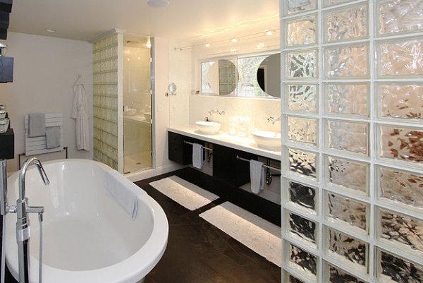 стеклоблоки дизайне ванной
