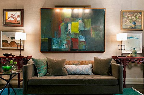 Бирюзовый и зеленый цвета в эклектичной гостиной
