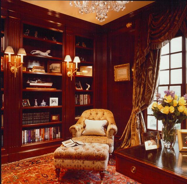 домашняя библиотека коричневого цвета