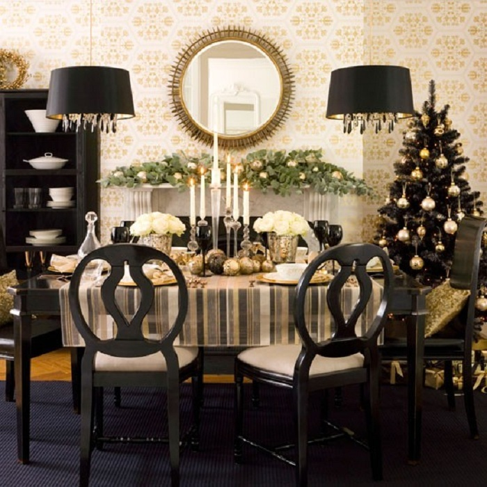 Стильный новогодний интерьер столовой