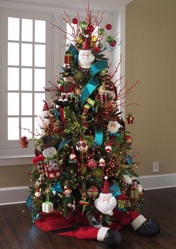 Украшение елки - фото с бирюзовой лентой