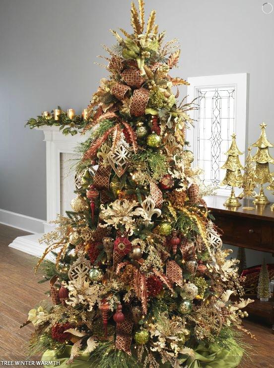 Украшение елки - фото красно-золотой елки