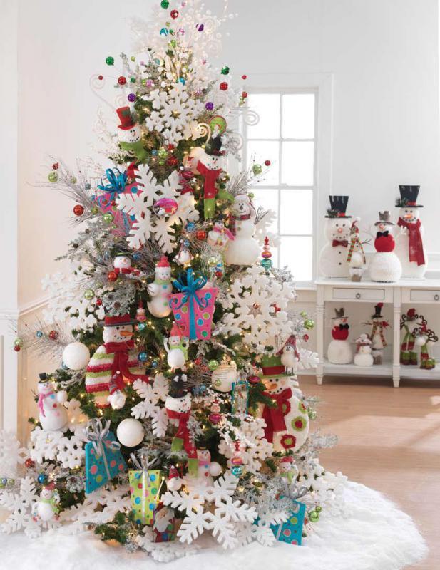 Украшение елки - фото новогоднего дерева с большими снежинками